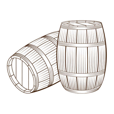 Three wooden barrels for wine and other alcohol. Hand drawn wood barrels isolated on white background. Illustration