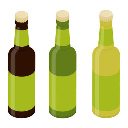 Glass beer bottles isolated on white background. Template for design Vector. Isometric view Çizim