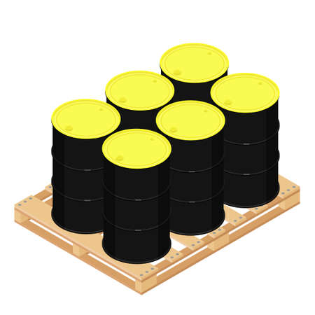 Industry oil barrels or chemical drums stacked on wooden pallet. Chemical tank. Container of barrels of hydrocarbons.