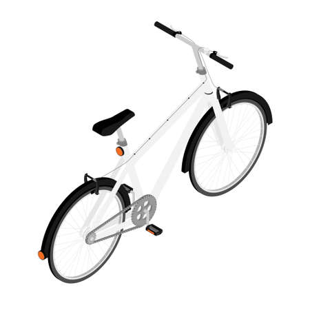 White mountainbike bicycle with thick offroad tyres. Cycling sport transport concept isolated on white background. Isometric view.Vector
