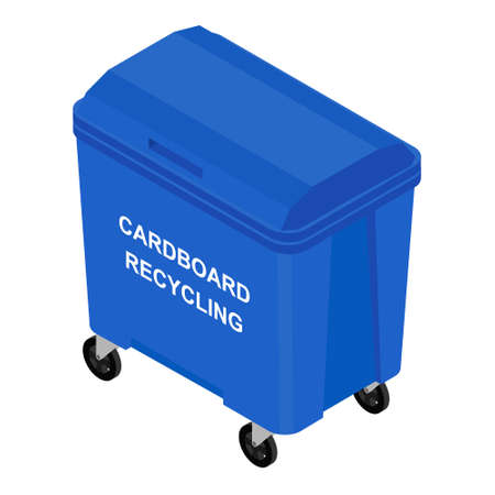 Blue container for sorted paper garbage vector icon. Recycling garbage separation. Recycling concept - blue bin full of old newspapers, paper and cardboard boxes
