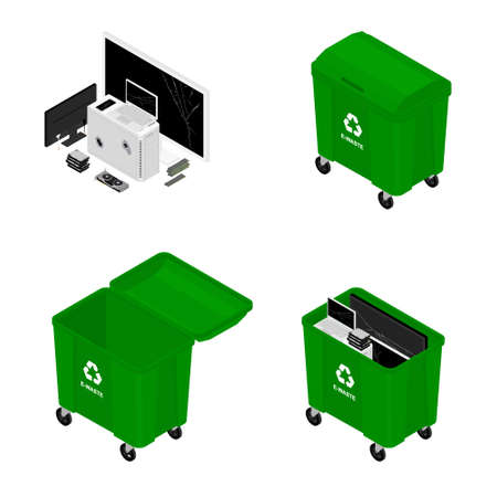 Green recycling garbage container cans for electronic waste. Recycling garbage separation. Sorted electronic garbage vector icon. E-waste Illustration