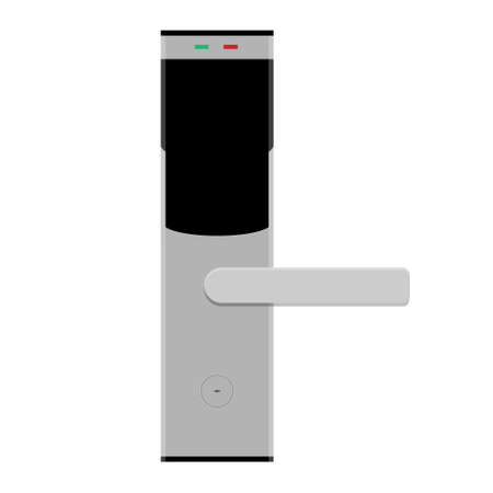 Smart card door key lock system in hotel isolated on white background. Vector