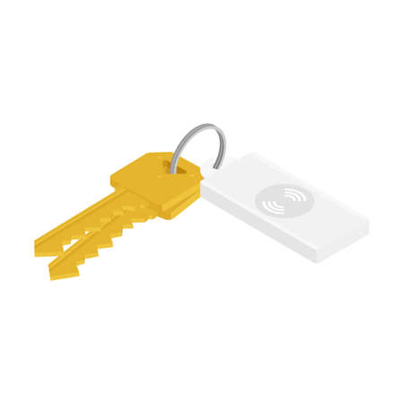 Bunch of keys with usb flash drive isolated on white background. Vector. Isometric view