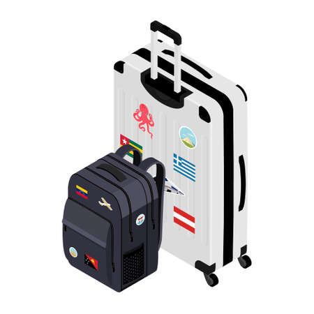 Suitcase on wheels and backpack. Journeys. Impressions of new places. Baggage rules. Carry-on baggage. Advertising of a travel company.