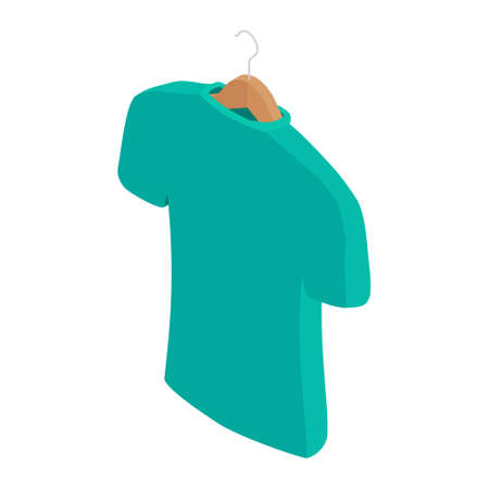 Blue t-shirt on hanger, clothes on isolated white background. Vector. Isometric view Illustration