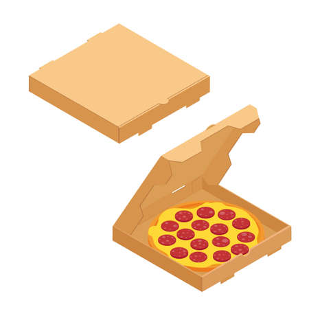 Salami pizza in a cardboard box for restaurants or pizzerias delivery. Delicious taste pizza with cheese and salami