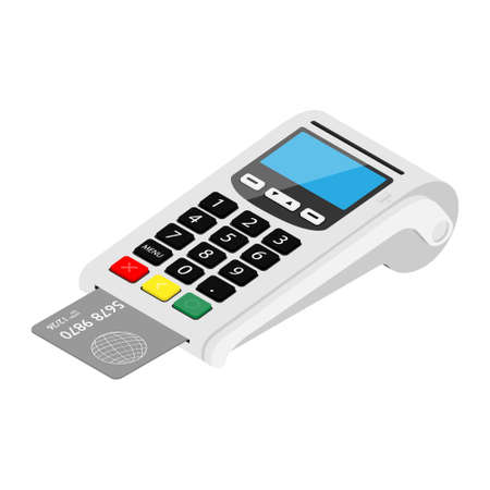 POS Terminal payment machine and bank credit card isolated on white background. Bank Payment Terminal. Processing NFC payments device. Isometric view Illustration