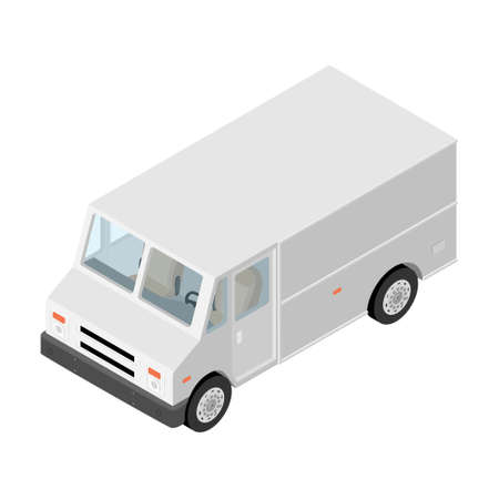 Parcel, mail delivery truck, postal car isolated on white background. Delivery service transport. Vector Illustration