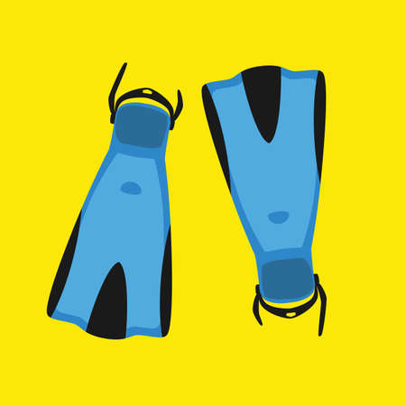 Vector illustration blue flippers for diving isolated on yellow background. Diving equipment for swimming tourism