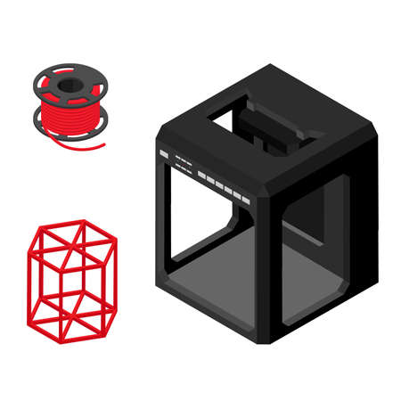 Modern 3D printer, printed figure and supplies isolated on white background. Isometric view.Vector
