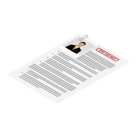 Files with top secret document isometric view isolated on white background. Confidentional information concept. Vector