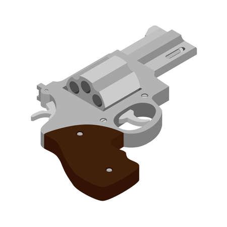 Pistol revolver isolated on white background. Vintage pistol revolver. Pistol revolver isometric view. Vector Ilustração