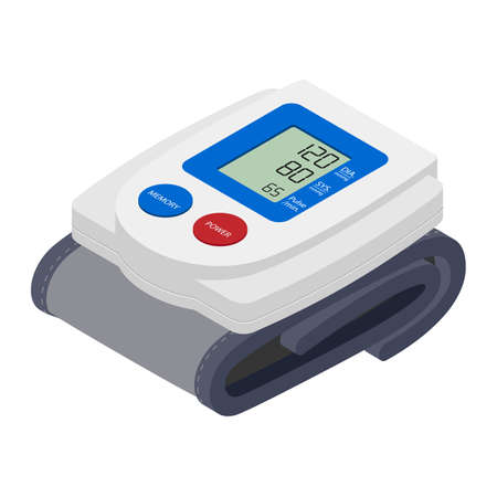 Medical electronic tonometer on white background. Isometric view. Vector