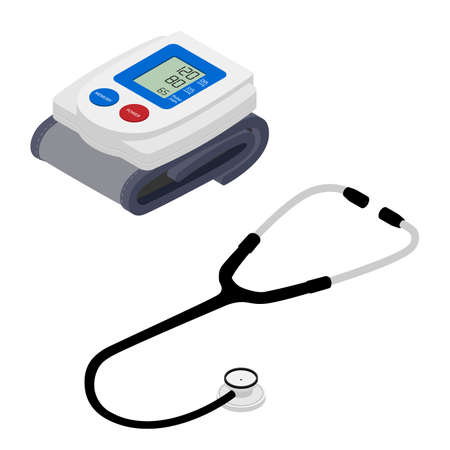 Medical electronic tonometer and stethoscope on white background. Isometric view. Vector Ilustração