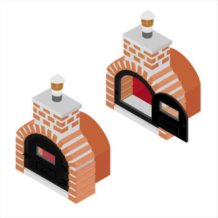 Traditional brick oven for cooking and baking pizza isometric view isolated on white background. Oven with closed and opened door Vector Illustratie