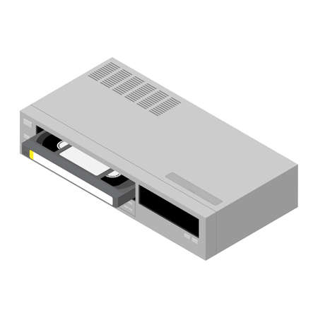 Retro old video recorder with vhs cassette isolated on white background. Isometric view. Vector Векторная Иллюстрация
