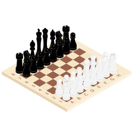 Chess game black and white on wooden board. Competition success play. Strategy, management or leadership concept. Isometric view. Vector