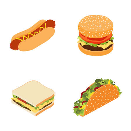 Set of fast food : hotdog, sandwich, burger hamburger or cheeseburger and traditional mexican fast food taco isolated on white background. Isometric view. Vector Векторная Иллюстрация
