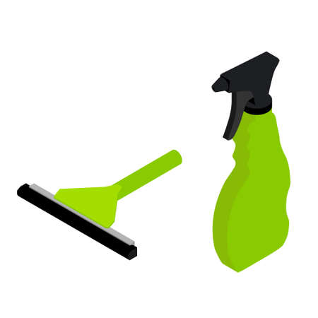 Vector illustration green rubber window glass squeegee, cleaner and bottle with spray. Cleaning supplies