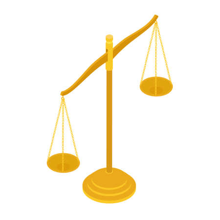 Gold brass balance scale isolated on white background. Sign of justice, lawyer. Isometric view. raster