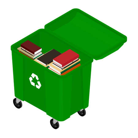 Garbage trash container full of books. Paper recycle concept Vecteurs