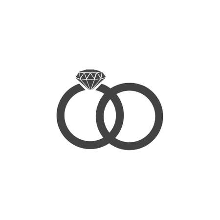Two bonded wedding rings. Marriage icon. Diamond. Couple wedding anniversary. Bride jewelry