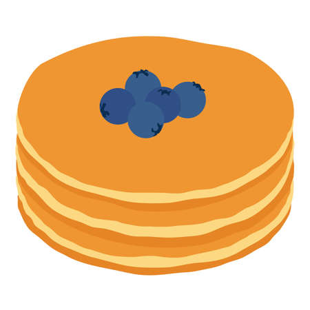 Stack of pancakes with blueberries isolated on white background. Isometric view. Vector Vector Illustration