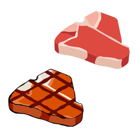 Red and grilled barbecued beef T-bone steak isolated on white background, isometric view. Vector
