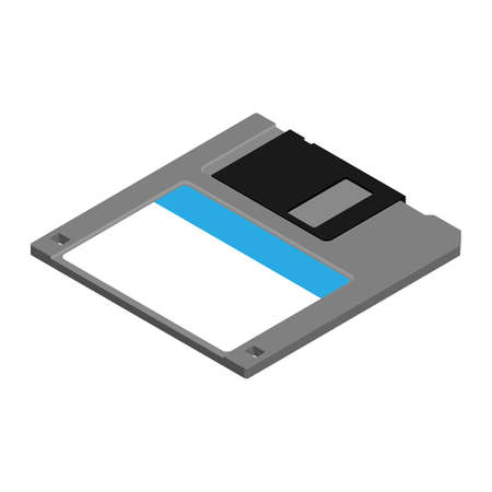 Floppy disk isolated on white background. Diskette icon. Vintage, old data storage disk isometric view. Vecteurs