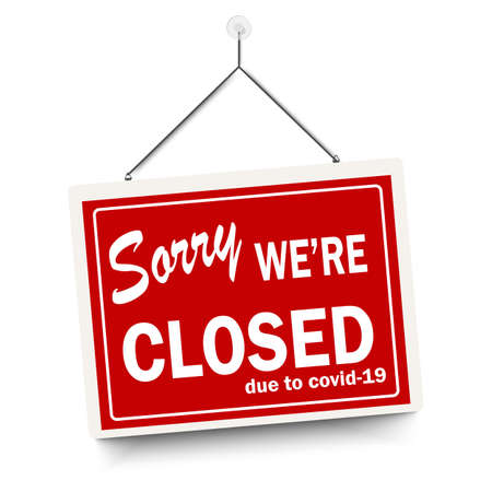 Red sign Sorry we are closed, with shadow isolated on white background. Realistic Design template - Vector Vecteurs