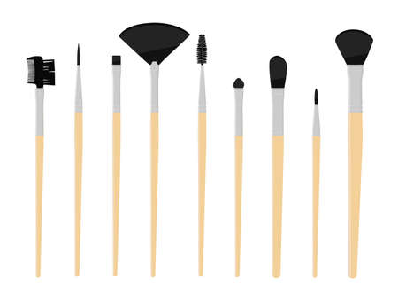 Vector set of professional makeup concealer powder blush eye shadow brow brushes isolated on white background. Vector Vektoros illusztráció