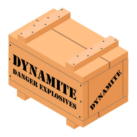 Danger explosives dynamite wooden box isoletad on white background isometric view