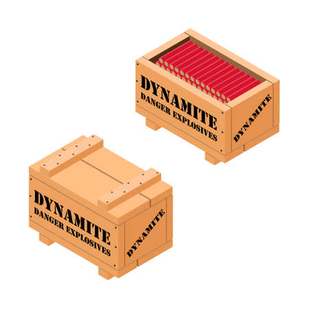 Red dynamite tnt stick in wooden box. Danger explosives dynamite. Isometric view