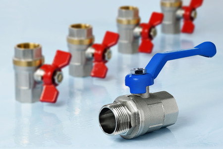 Valves for hot and cold water Stok Fotoğraf