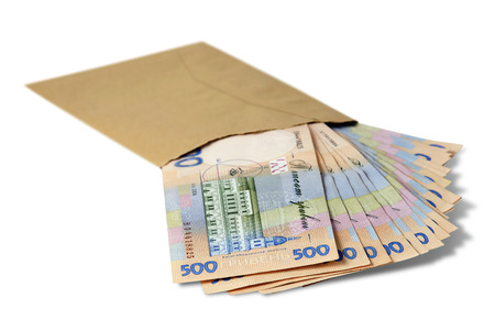 Ukrainian currency in the envelope