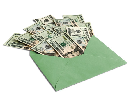 dollars in an envelope