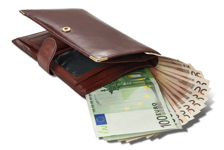 Banknote hundred and fifty euros are in brown wallet isolated on white background Stok Fotoğraf