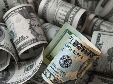 twenty: Twenty dollars between other bills