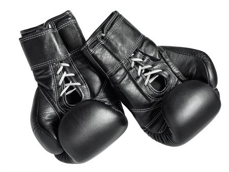 Black boxing gloves on a white background Stok Fotoğraf