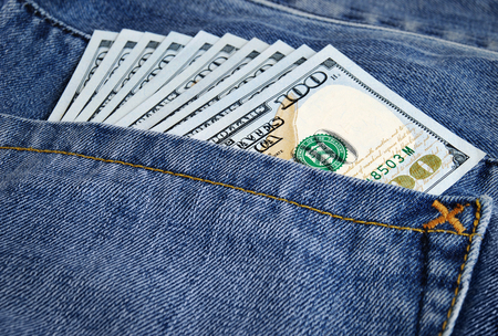 Many greenback in a pocket of jeans Stok Fotoğraf