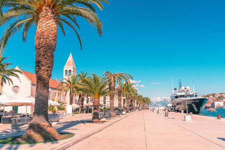 Alley with palm trees in Trogir town, Adriatic coast, Croatia.