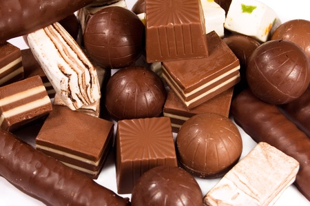 background from a variety of chocolates Stock Photo