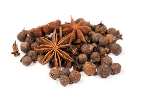 spices : star anise , pepper and cloves isolated on white background