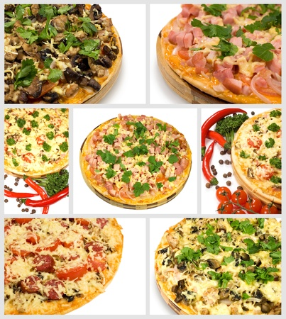 a collage of seven images on a pizza Stock Photo