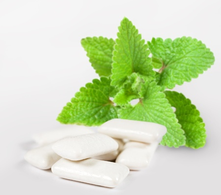 Fresh leas mint with chewing gum