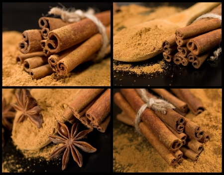 collection of cinnamon on a black background