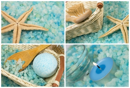spa collection with sea salt , seastar and candle