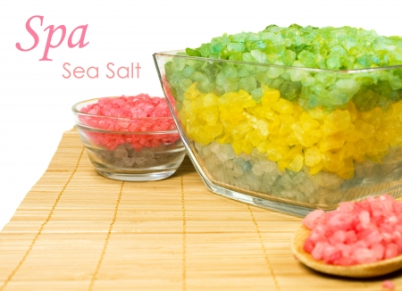 sea salt on the mat with a copy space Stock Photo - 14351099