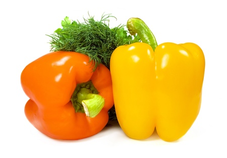 peppers on a white background close-up photo